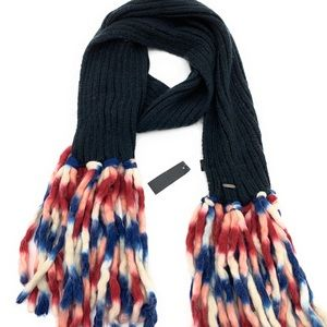 Steve Madden Black Knit Winter Fringe Scarf